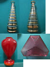 HUNGARY GLASS VASE HAND PAINTED CIRCLE RINGS RED TRIAGLE PURPLE PICK ONE