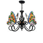 Antique Tiffany Chandelier Stained Glass Butterfly Wrought Iron Ceiling 5 Light