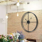 Double Layer Large Metal Wall Clock Modern Iron Mute Watch Decor 50cm 60cm UK