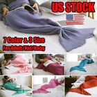 USA Family Mermaid Tail Knitted Hand Crocheted Warm Sleeping Bag Wrap Blanket image