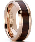 Men's Rose Tungsten Carbide Wedding Band Engagement Ring, Real Wood
