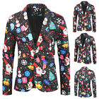 Mens One Button Christmas Gentleman Tuxedo Suit Party Coat Blazer Jacket Winter
