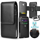 Cell Phone Holster Belt Clip Loop Pouch Leather Wallet Case Cover w/Card Holder