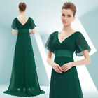 Ever-Pretty US Plus Green V-neck Bridesmaid Dress Long Formal Evening Gown 09890