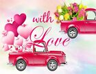 Valentine Red Truck Flower Balloon Vinyl Backdrop Photography Background Props