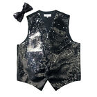 New reversible Men's sequins formal tuxedo vest waistcoat bowtie black