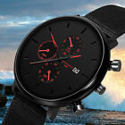Casual Men Quartz Date Military Stainless Steel Sports Analog Simple Wrist Watch