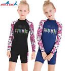 Kids Girls One Piece Swimsuit UPF50 Long Sleeve Rash Guard Swimwear Swimsuit