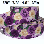 "GROSGRAIN RIBBON 5/8"", 7/8"",1.5"", 3"" Flowers Roses Purple Mother's Day Spring"