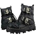 Men's Cowhide Genuine Leather Motorcycle Boots Military Combat Boots Gothic Skul