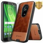For Motorola Moto e5 (XT1920DL) Case Shockproof Leather Cover + Tempered Glass