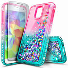 For Samsung Galaxy S5 Case Liquid Glitter Bling TPU Cover + Screen Protector