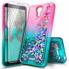 For AT&T RADIANT CORE Phone Case Liquid Glitter Bling Cover + Tempered Glass