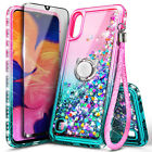 For Samsung Galaxy A01 Case, Liquid Glitter Bling Phone Cover + Tempered Glass