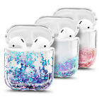 For Apple AirPods / AirPods Pro Case Cute Liquid Glitter Cover + Keychain Clip