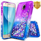 For Samsung Galaxy J3 Aura, Liquid Glitter Phone Case + Tempered Glass Protector
