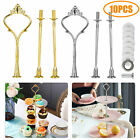 10x 3 Tier Cake Cupcake Plate Stand Rack Fittings Handle Rod Wedding Party Kit