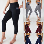 Women's with Pockets Tummy Control High Waist Athletic Capri Leggings Yoga Pants