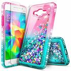 For Samsung Galaxy J2 Prime/Grand Prime Case Liquid Glitter Cover+Tempered Glass