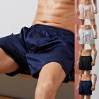 Mens Sleepwear Satin Silk Underwear Pants Pyjamas Nightwear US Boxers Shorts