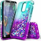 For LG Neon Plus (AT&T) Case Liquid Glitter Bling Phone Cover + Tempered Glass
