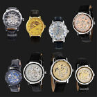 New Mens Sports Transparent Steampunk Skeleton Mechanical Stainless Steel Watch