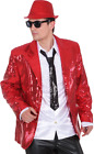 Mens Red Sequin Christmas 1970s Disco Fancy Dress Jacket Costume Outfit M-XL