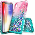 For iPhone Xs Max XR Xs X Case Liquid Glitter Bling Phone Cover + Tempered Glass