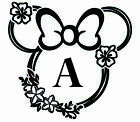 Minnie Mouse Silhouette Floral Flower Custom Name Bedroom Living Room Wall Decor