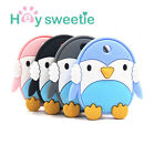 1x Silicone Colorful Penguin Baby Teether Ring Infant Chew Charms Teething US