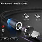 360° Braided LED Magnetic Charger Adapter Charging USB Cable For iPhone Android