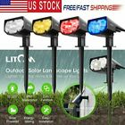2Pack Litom Outdoor Solar Powered LED Spot Lights IPX7 Garden Walkway Yard Lamps