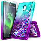 For Nokia 3.1 A / Nokia 3.1 C Case [Liquid Glitter] Bling Cover + Tempered Glass