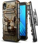 For Motorola Moto E6 Case, Armor Belt Clip Holster Phone Cover With Kickstand