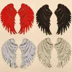 1 Pair Angel Wings Embroidery Fabric Patch Lace Sew Cloth Dress Diy Decorat Q7p7