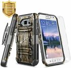 For Samsung Galaxy S6 Active Case Belt Clip Cover + Tempered Glass Protector