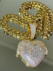Men's Iced Thick Miami Cuban Chain 14k Dripping Heart Gold Finish Big Pendant