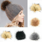 Diy Faux Raccoon Fur Pom Pom Ball With Press Button For Knitting Hat Accessorie.