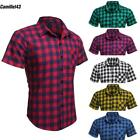 Tops COOFANDY Shirts Men T-shirts Plaid Slim Fit Short Sleeve Turndown CL43