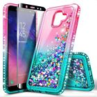 For Samsung Galaxy A6 2018 Case Liquid Glitter Bling Phone Cover +Tempered Glass