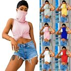 Fashion Summer Women's Casual Solid Color Sleeveless Vest With Mask T-shirt