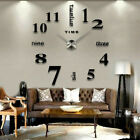 Large Modern Wall Clock 3D Arabic Numerals Mirror Stickers Mute Watch DIY Decor