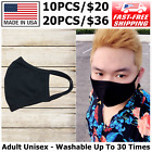 Pack of 10 High Quality Reusable Face Mask Adult Unisex - Made In USA (Black)