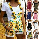 Women Loose Denim Bib Hole Pants Overalls Jeans Sunflower Shorts Jumpsuit Romper
