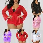 Women V-neck Lace Sexy Lingerie Underwear Bathrobe Mesh Robe With Thong + Belt