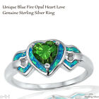Unique Heart Love Emerald CZ Wedding Engagement Blue Opal Sterling Silver Ring