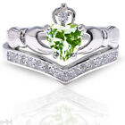 Peridot Claddagh Heart with Clear CZ Celtic Sterling Silver Ring Set