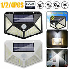 100 LED Solar Power Wall Light PIR Motion Sensor Waterproof Outdoor Garden Lamp