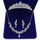 3.2cm High CZ Crystal Tiara Necklace Earrings Set Wedding Party Pageant Prom