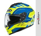 HJC C70 Koro Fluo Yellow Blue Gloss Motorcycle Helmet Sport Touring Scooter
